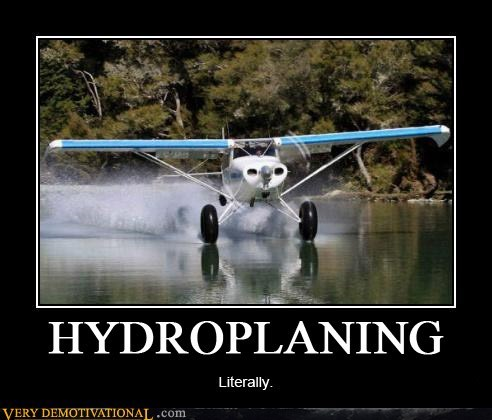 hydroplaning plane uh oh water - 6554000640