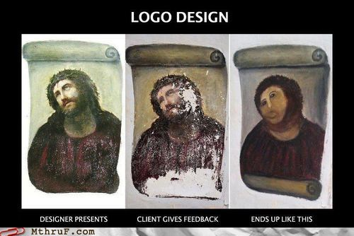 ecce homo logo design potato jesus shipping department