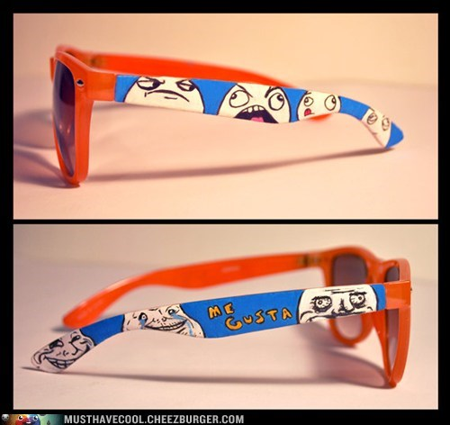 hand painted Memes Rageface sunglasses - 6554477568