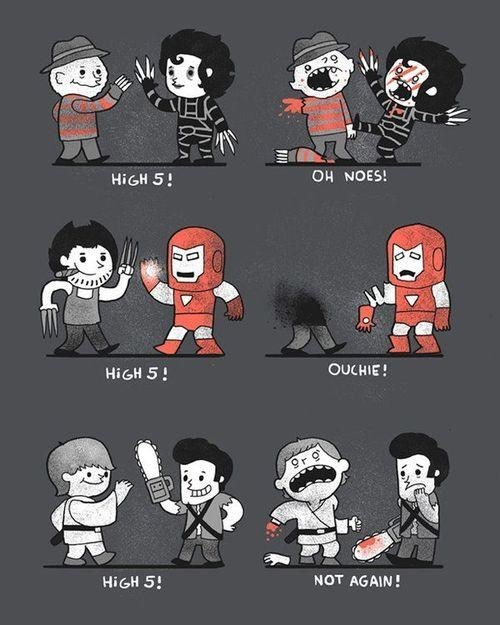 Edward Scissorhands,Fan Art,freddie krueger,high five,iron man,luke skywalker,Sad,wolverine