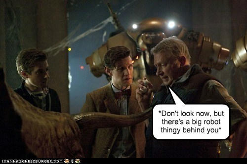 arthur darvil,behind you,brian williams,dinosaurs,doctor who,Mark Williams,Matt Smith,robot,rory williams,the doctor