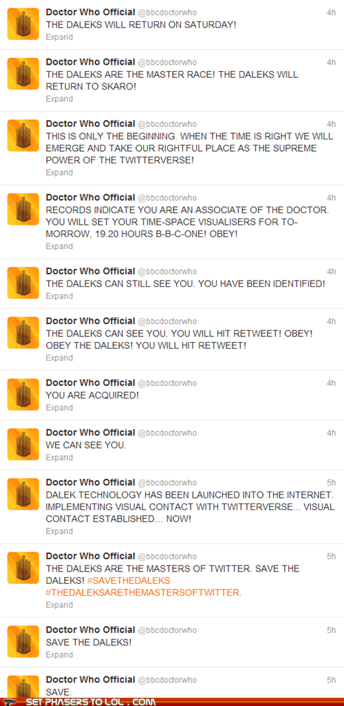 daleks,doctor who,Exterminate,twitter