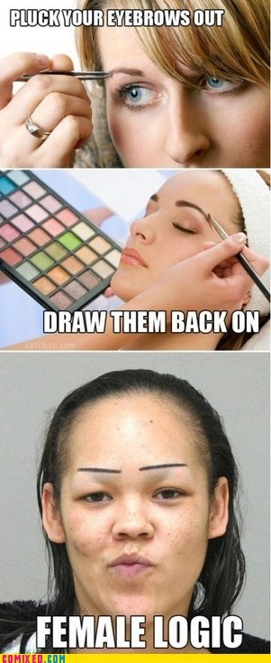 drawn on,eyebrows,woman logic