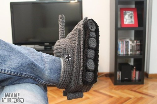 craft knitting panzer slippers tank - 6555314432