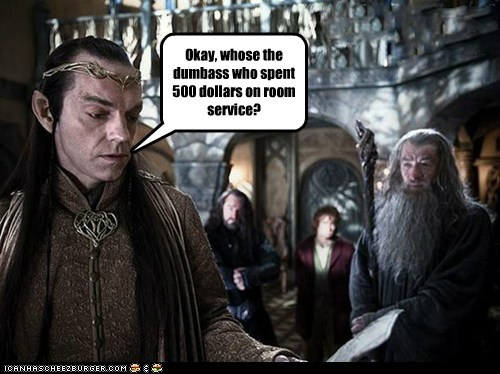 Bilbo Baggins elrond expensive gandalf Hugo Weaving ian mckellen Martin Freeman room service The Hobbit - 6555494656