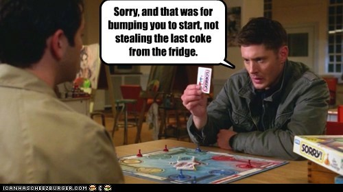 board game,bumping,castiel,dean winchester,fridge,jensen ackles,jerk,misha collins,sorry,start,stealing