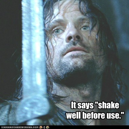aragorn,confused,instructions,Lord of the Rings,shake well,viggo mortensen