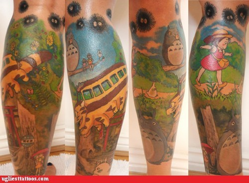 anime,body modification,my neighbor totoro,tattoos,totoro,win