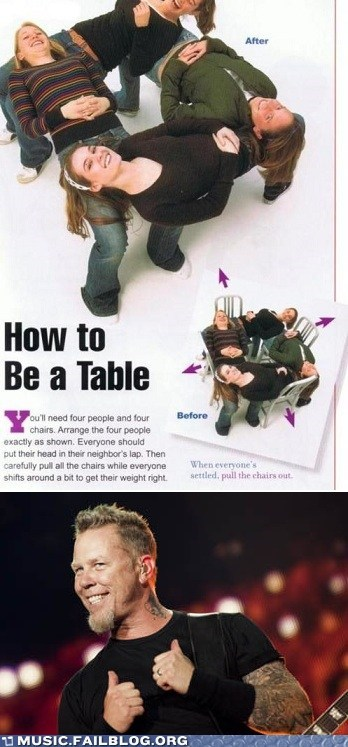 how to be a table,metallica
