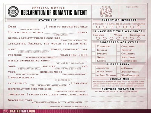 application,declaration of romantic i,declaration of romantic intent,make it official
