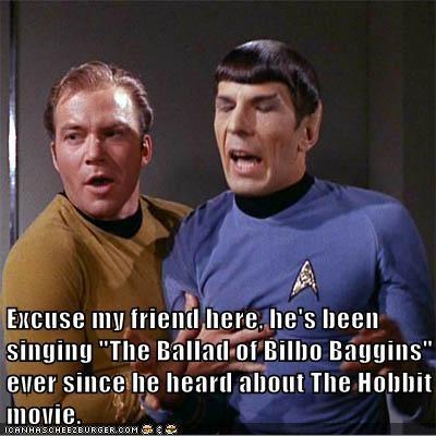 Bilbo Baggins Captain Kirk excited Leonard Nimoy Shatnerday singing song Spock The Hobbit William Shatner - 6557267456