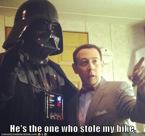 peewee herman,pee-wees-big-adventure,stole,bike,darth vader,star wars,francis