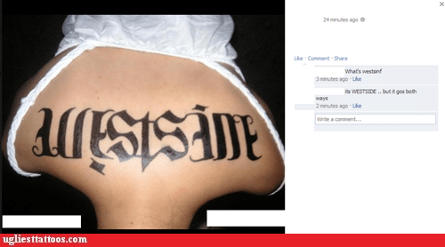 ambigram,back tattoos,facebook,westside