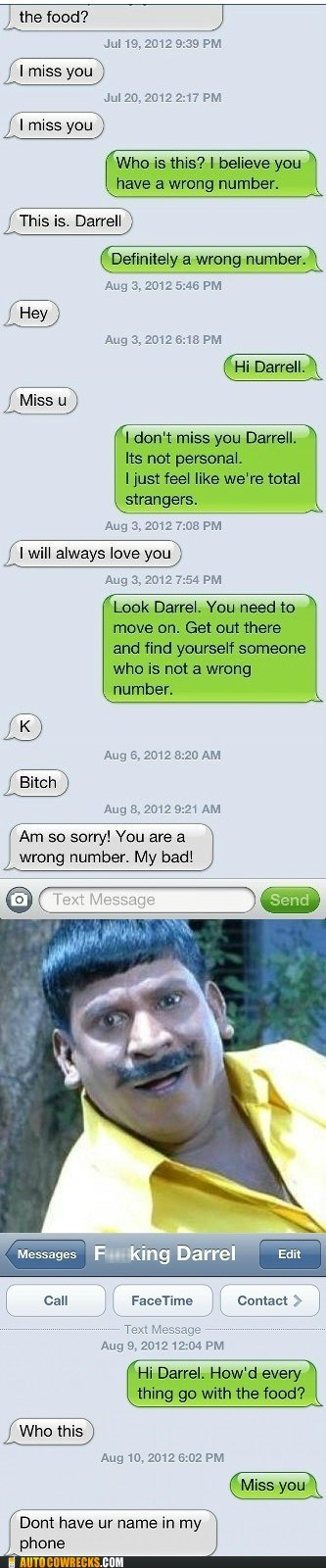 darrell,miss you,wrong number