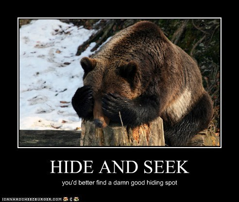 bear,cover your eyes,hide and seek,hiding,good,or else