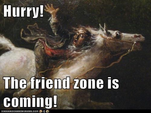 friendzone,horse,man,run away