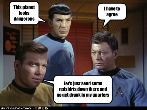 Captain Kirk,dangerous,DeForest Kelley,get drunk,Leonard Nimoy,McCoy,planet,quarters,red shirts,Shatnerday,Spock,Star Trek,William Shatner