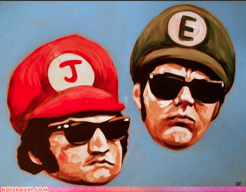 actor,art,celeb,dan aykroyd,funny,jim belushi,painting,the blues brothers,video game
