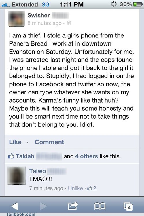 arrested,criminal,karma,panera,stolen iphone,stolen phone,thief
