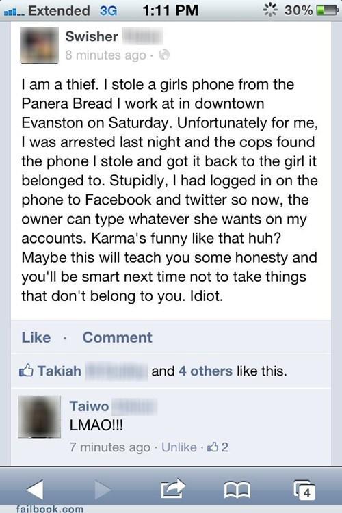 arrested criminal karma panera stolen iphone stolen phone thief - 6561155584
