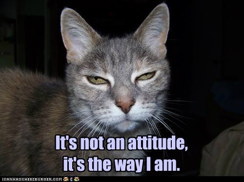 It's not an attitude, it's the way I am.
