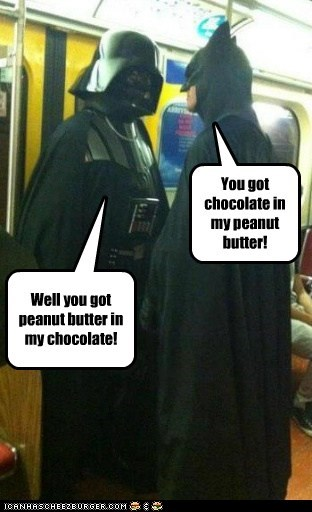 batman,bump,chocolate,darth vader,meeting,peanut butter,reeses-peanut-butter-cup,star wars,Subway