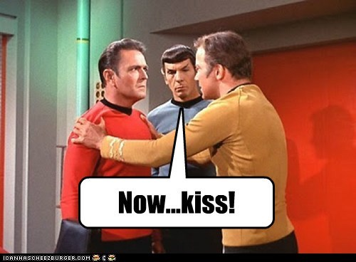 Captain Kirk fan fiction james doohan Leonard Nimoy now kiss scotty Shatnerday shipping slash Spock William Shatner - 6561847808