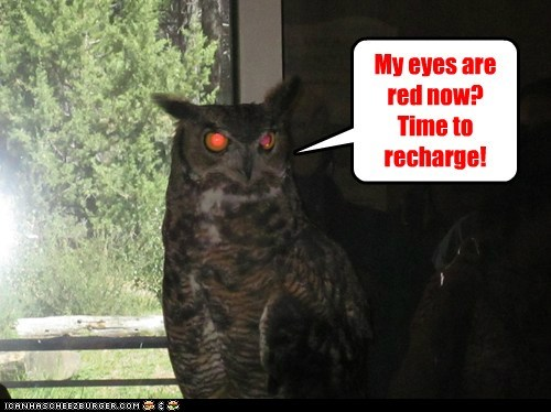 eyes,low battery,Owl,plug in,recharge,red