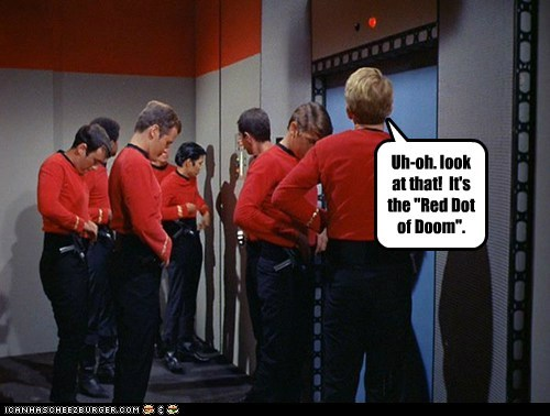 doom look red dot red shirts Star Trek the original series