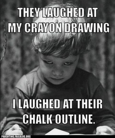 chalk outline crayon drawing evil child
