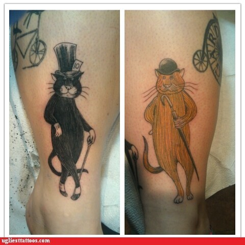 Cats,leg tattoos,top hats