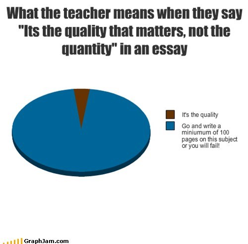 "What the teacher means when they say ""Its the quality that matters, not the quantity"" in an essay"