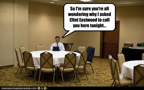 chair,Clint Eastwood,empty chair,meeting,Mitt Romney