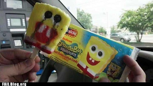 creepy,frozen,frozen treat,popsicle,SpongeBob SquarePants