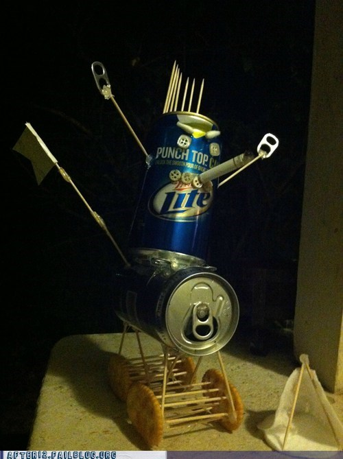 beer can sculpture,miller lite,trohan beer