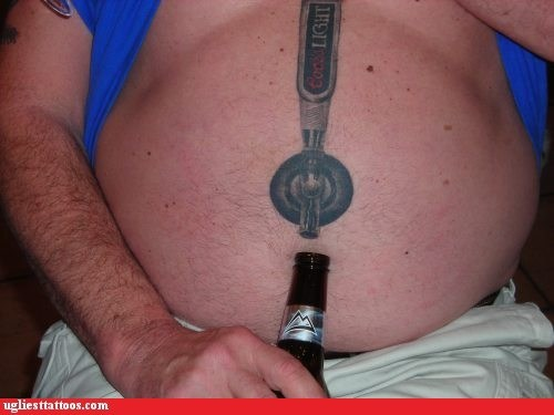 beer tap,belly tattoos
