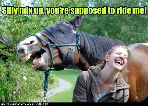 backwards horses human laughing mix up riding - 6564019200