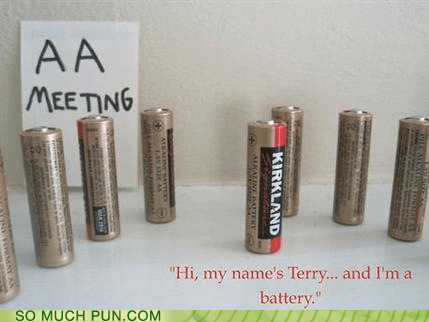 AA,abbreviation,Alcoholics Anonymous,batteries,battery,double meaning,literalism