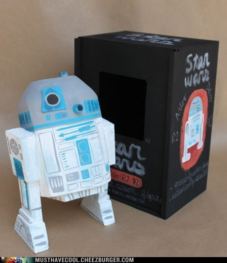 carved figurine Movie Painted r2d2 star wars wood - 6564059904
