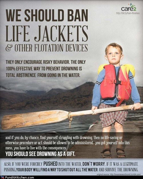 comparison,drowning,legitimate,life jacket,logic