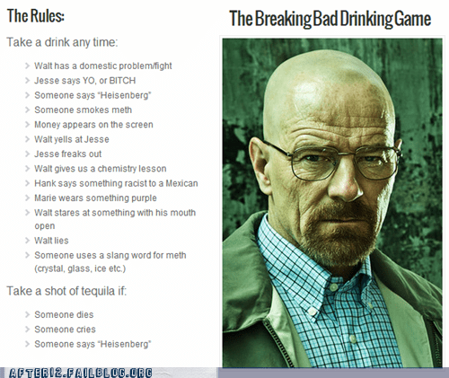 Funny picture of the rules for playing the Breaking Bad Drinking Game.