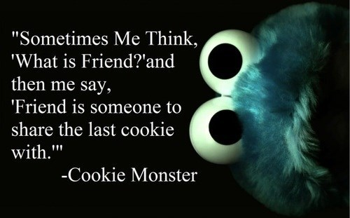 Cookie Monster friends sharing