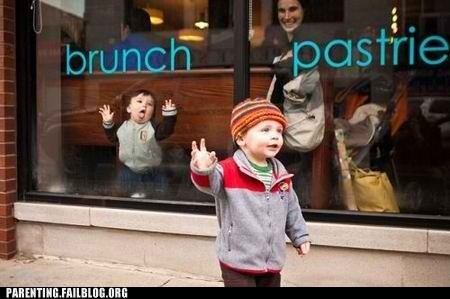 Babies,funny faces,waving,window