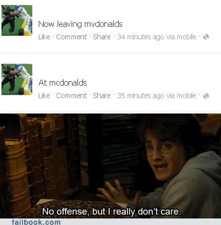 dumb status,i-really-dont-care,McDonald's,useless status