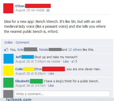 App bench wench iphone Medieval Times middle ages siri - 6565641472