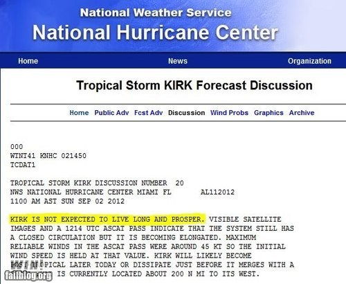 hurricane kirk,nerdgasm,pun,Star Trek,storm,tropical storm,warning,weather