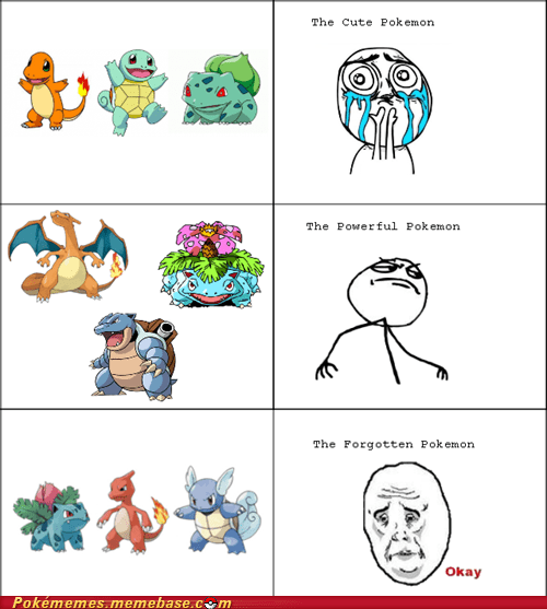 first gen,forgotten,rage comic,Sad,starters