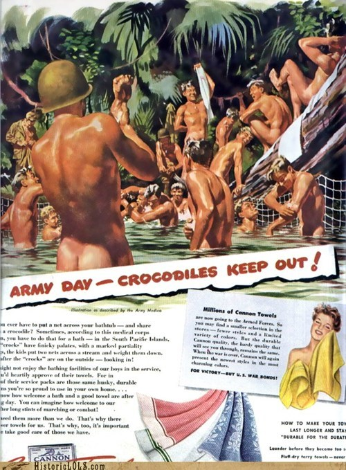 Ad,army,bathe,naked,soldiers,swim,towels,world war 2