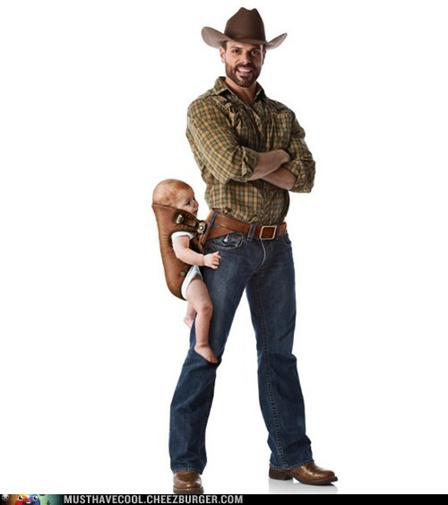 baby carrier cowboy dad holster kids