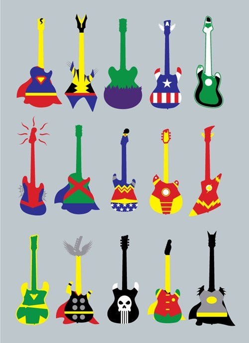 DC,Fan Art,guitar,Guitar Hero,marvel,pun,superheroes